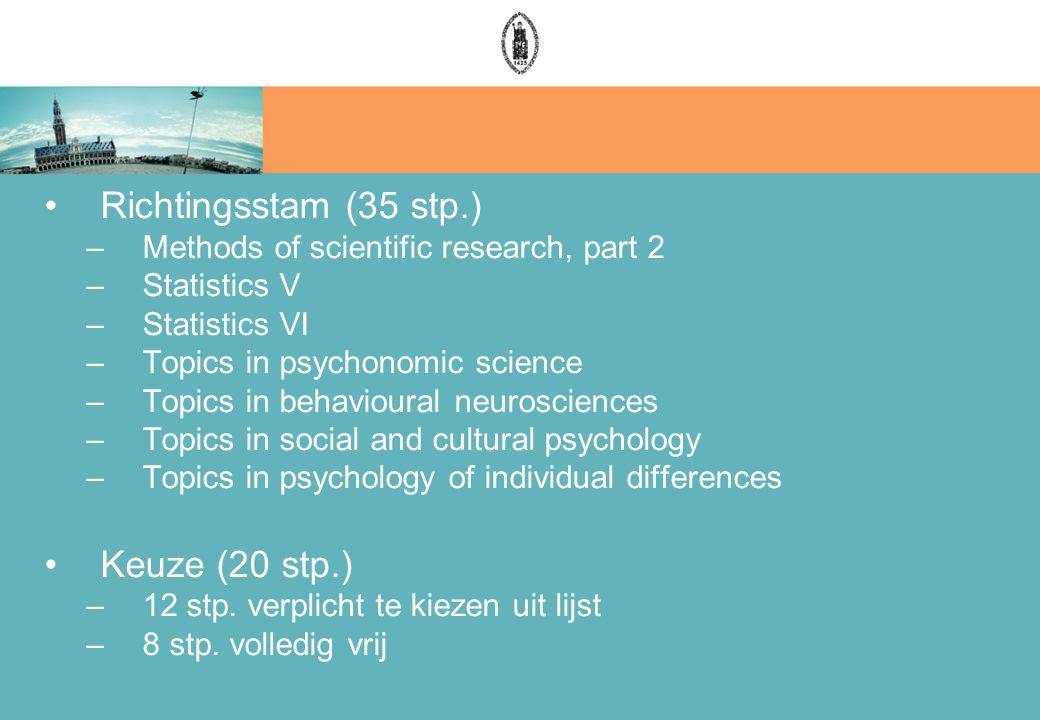 Richtingsstam (35 stp.) –Methods of scientific research, part 2 –Statistics V –Statistics VI –Topics in psychonomic science –Topics in behavioural neurosciences –Topics in social and cultural psychology –Topics in psychology of individual differences Keuze (20 stp.) –12 stp.