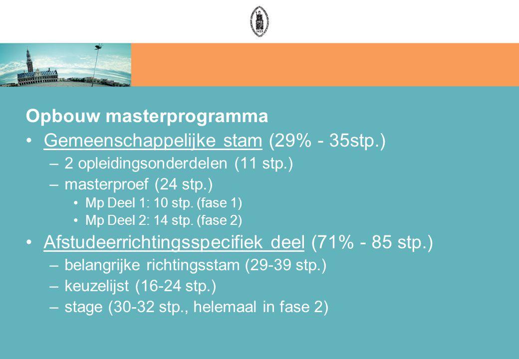 Opbouw masterprogramma Gemeenschappelijke stam (29% - 35stp.) –2 opleidingsonderdelen (11 stp.) –masterproef (24 stp.) Mp Deel 1: 10 stp.