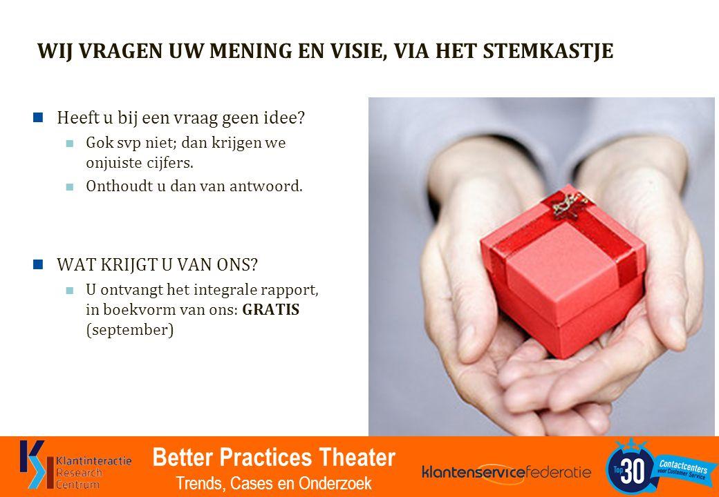Better Practices Theater Trends, Cases en Onderzoek WIJ VRAGEN UW MENING EN VISIE, VIA HET STEMKASTJE Heeft u bij een vraag geen idee.