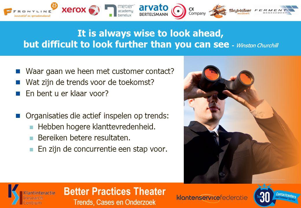 Better Practices Theater Trends, Cases en Onderzoek Dank u voor uw deelname U heeft kennis gemaakt met de 10 leidende Trends.