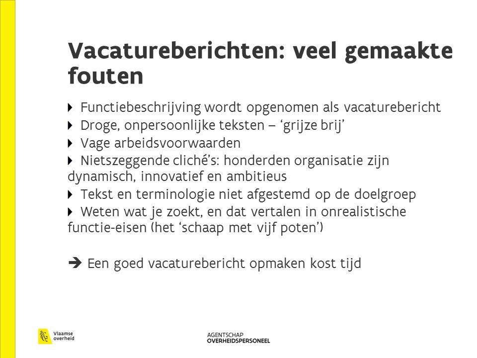 Vacatureberichten: veel gemaakte fouten Functiebeschrijving wordt opgenomen als vacaturebericht Droge, onpersoonlijke teksten – 'grijze brij' Vage arb
