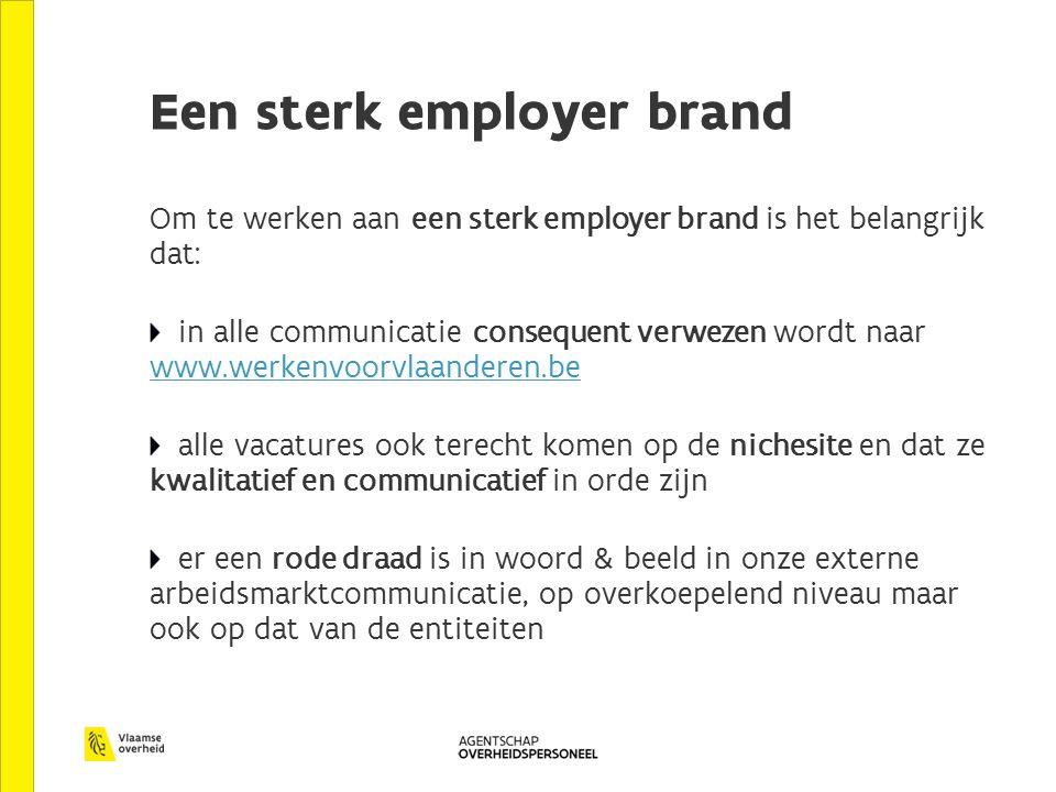 Een sterk employer brand Om te werken aan een sterk employer brand is het belangrijk dat: in alle communicatie consequent verwezen wordt naar www.werk