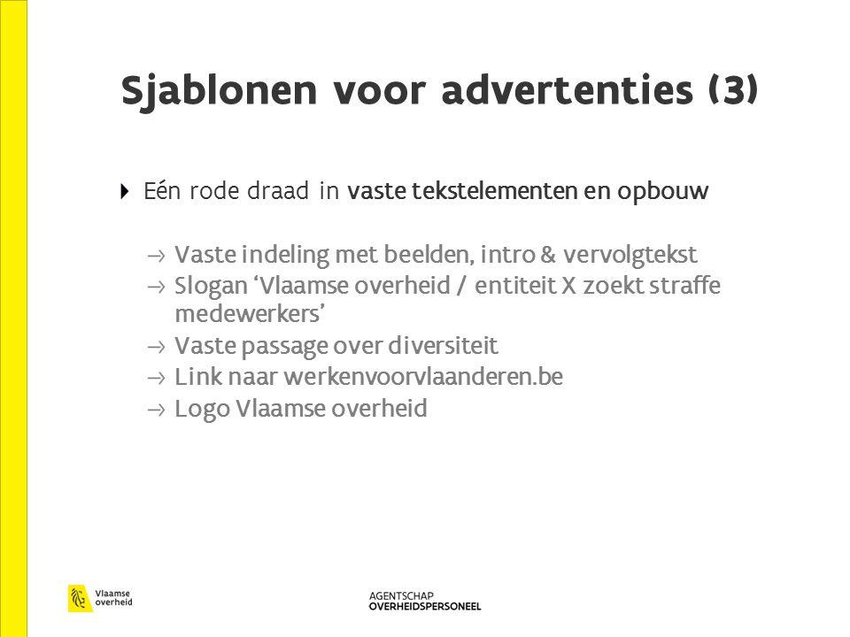 Sjablonen voor advertenties (3) Eén rode draad in vaste tekstelementen en opbouw Vaste indeling met beelden, intro & vervolgtekst Slogan 'Vlaamse over