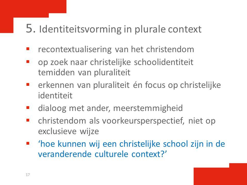 5. Identiteitsvorming in plurale context  recontextualisering van het christendom  op zoek naar christelijke schoolidentiteit temidden van pluralite