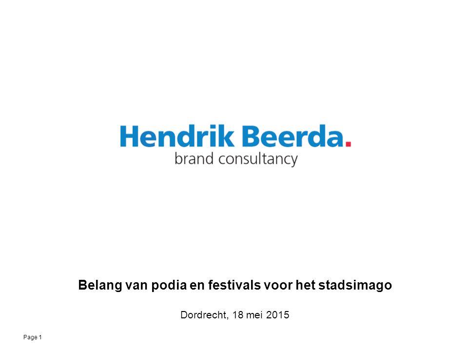 © 2015 Page 1 Belang van podia en festivals voor het stadsimago Dordrecht, 18 mei 2015