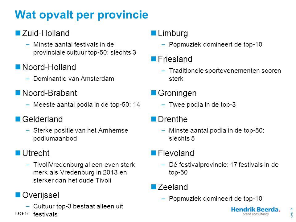 © 2015 Page 17 Wat opvalt per provincie Zuid-Holland –Minste aantal festivals in de provinciale cultuur top-50: slechts 3 Noord-Holland –Dominantie va
