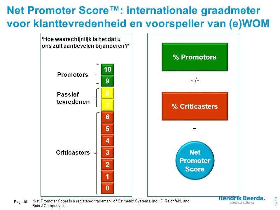 © 2015 Page 18 Net Promoter Score™: internationale graadmeter voor klanttevredenheid en voorspeller van (e)WOM 9 8 7 1 6 5 2 4 3 0 % Promotors - /- %