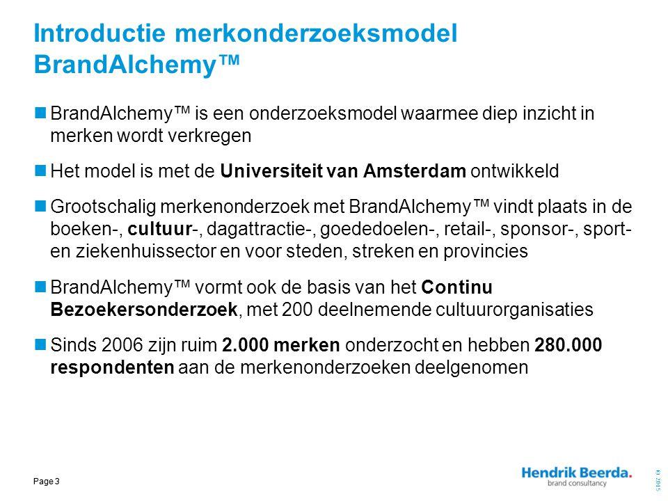 © 2015 Page 3 Introductie merkonderzoeksmodel BrandAlchemy™ BrandAlchemy™ is een onderzoeksmodel waarmee diep inzicht in merken wordt verkregen Het mo