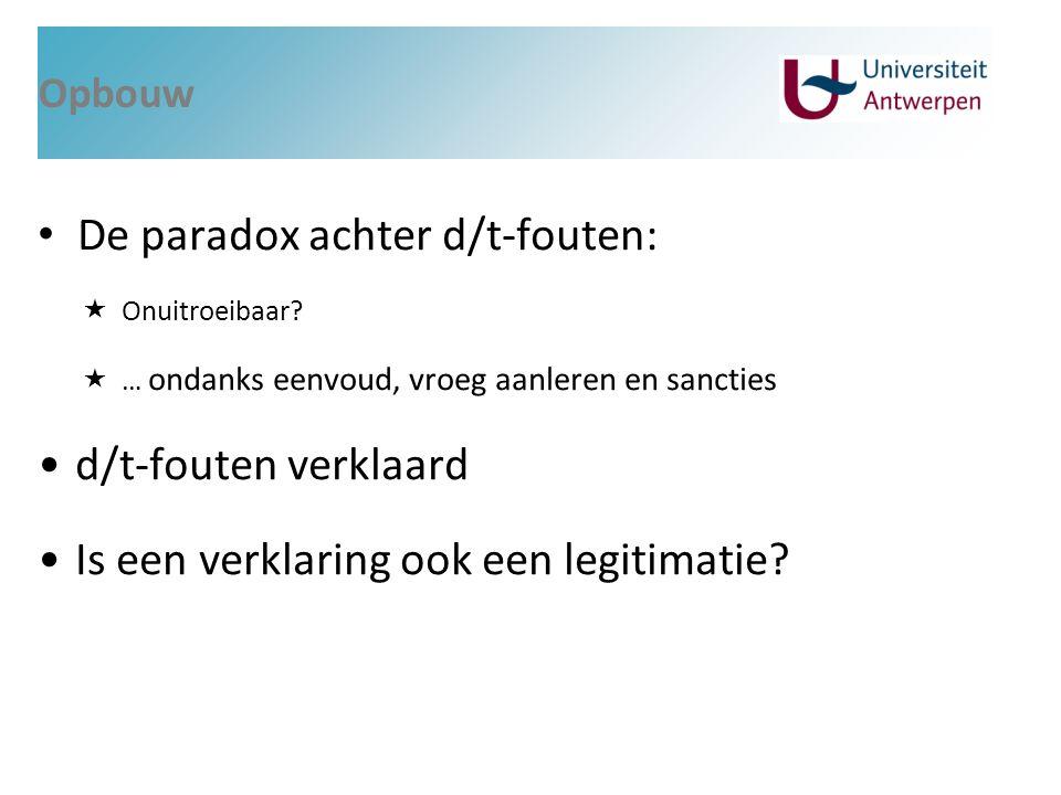 Opbouw De paradox achter d/t-fouten:  Onuitroeibaar?  … ondanks eenvoud, vroeg aanleren en sancties d/t-fouten verklaard Is een verklaring ook een l