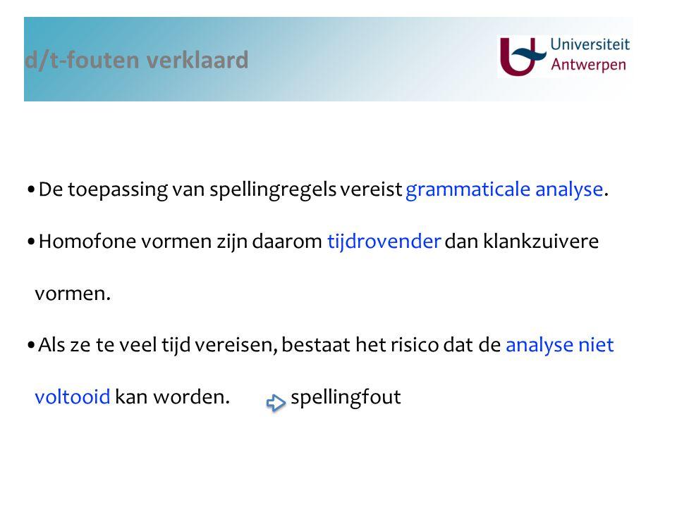 d/t-fouten verklaard De toepassing van spellingregels vereist grammaticale analyse. Homofone vormen zijn daarom tijdrovender dan klankzuivere vormen.