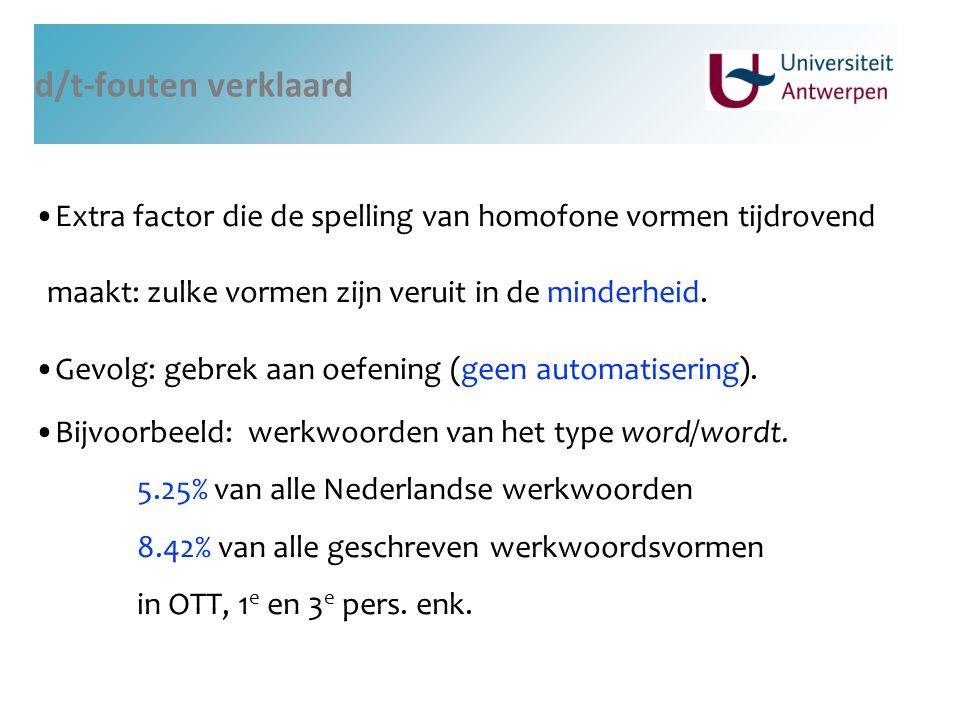 d/t-fouten verklaard Extra factor die de spelling van homofone vormen tijdrovend maakt: zulke vormen zijn veruit in de minderheid. Gevolg: gebrek aan