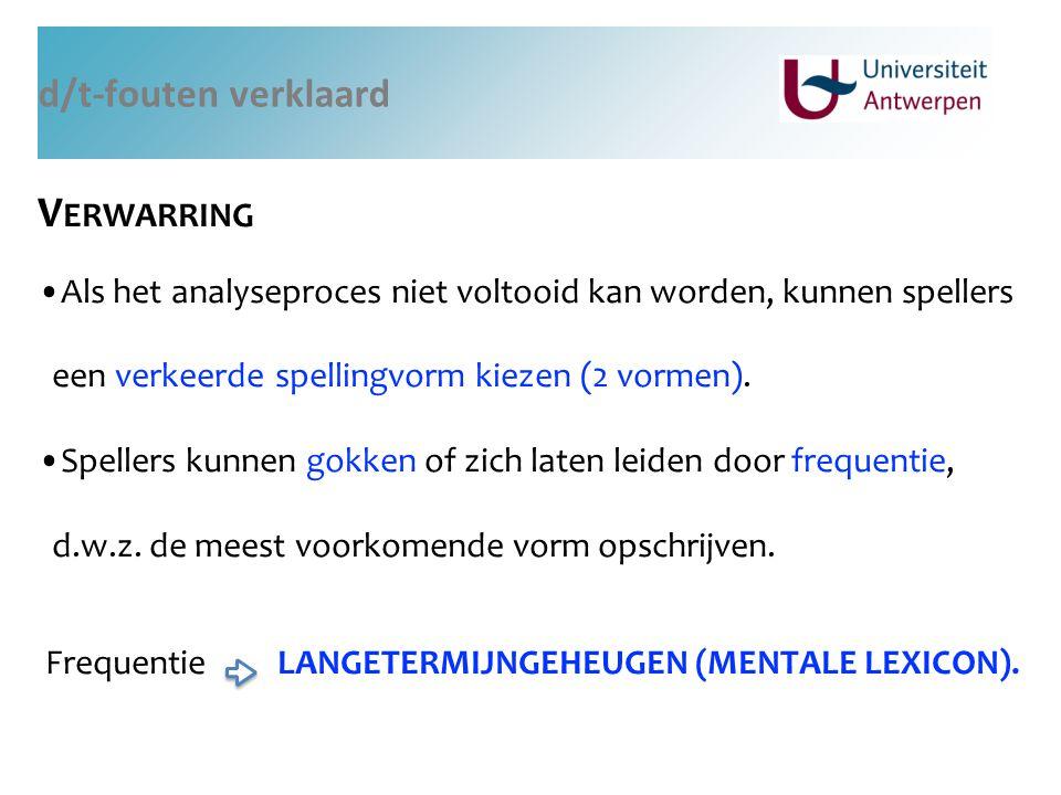 d/t-fouten verklaard V ERWARRING Als het analyseproces niet voltooid kan worden, kunnen spellers een verkeerde spellingvorm kiezen (2 vormen). Speller