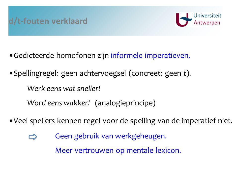 d/t-fouten verklaard Gedicteerde homofonen zijn informele imperatieven. Spellingregel: geen achtervoegsel (concreet: geen t). Werk eens wat sneller! W