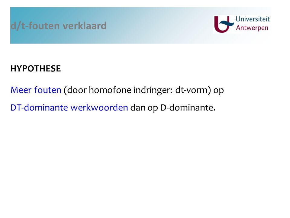 d/t-fouten verklaard HYPOTHESE Meer fouten (door homofone indringer: dt-vorm) op DT-dominante werkwoorden dan op D-dominante.