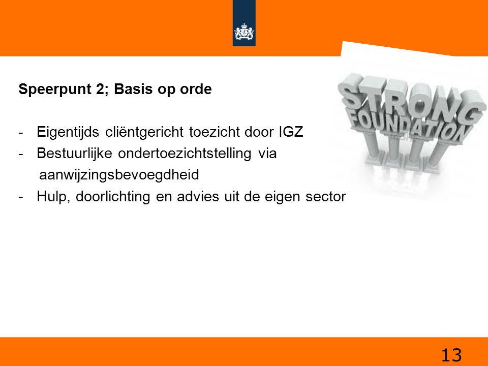 13 Speerpunt 2; Basis op orde -Eigentijds cliëntgericht toezicht door IGZ -Bestuurlijke ondertoezichtstelling via aanwijzingsbevoegdheid -Hulp, doorli