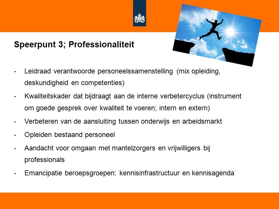 14 Speerpunt 3; Professionaliteit -Leidraad verantwoorde personeelssamenstelling (mix opleiding, deskundigheid en competenties) -Kwaliteitskader dat b