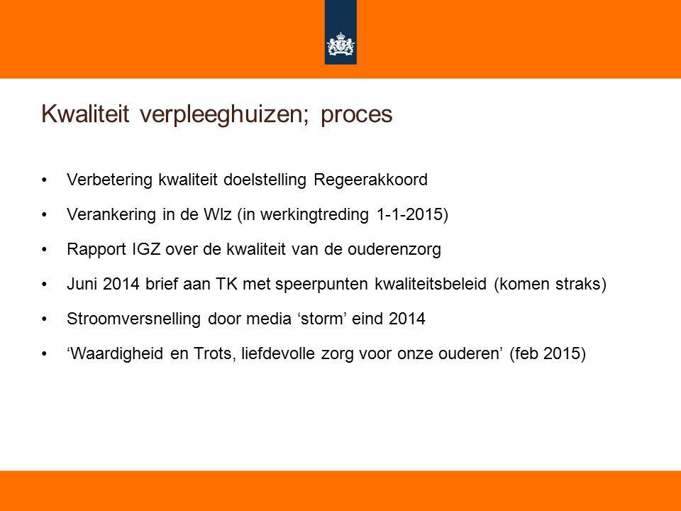 7 Kwaliteit verpleeghuizen; proces Verbetering kwaliteit doelstelling Regeerakkoord Verankering in de Wlz (in werkingtreding 1-1-2015) Rapport IGZ ove