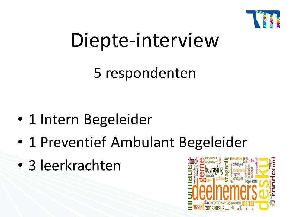 Diepte-interview 5 respondenten 1 Intern Begeleider 1 Preventief Ambulant Begeleider 3 leerkrachten