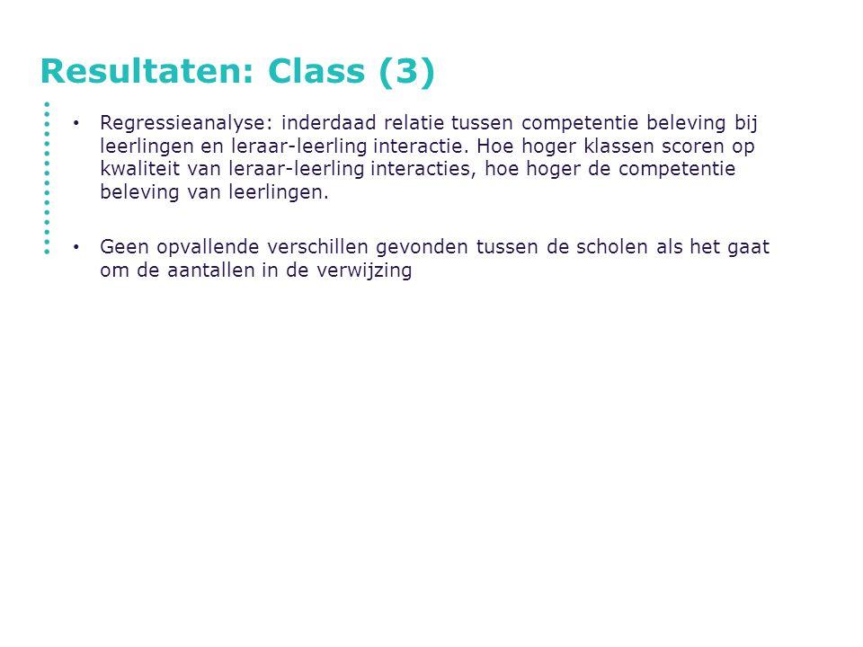 Resultaten: Class (3) Regressieanalyse: inderdaad relatie tussen competentie beleving bij leerlingen en leraar-leerling interactie. Hoe hoger klassen