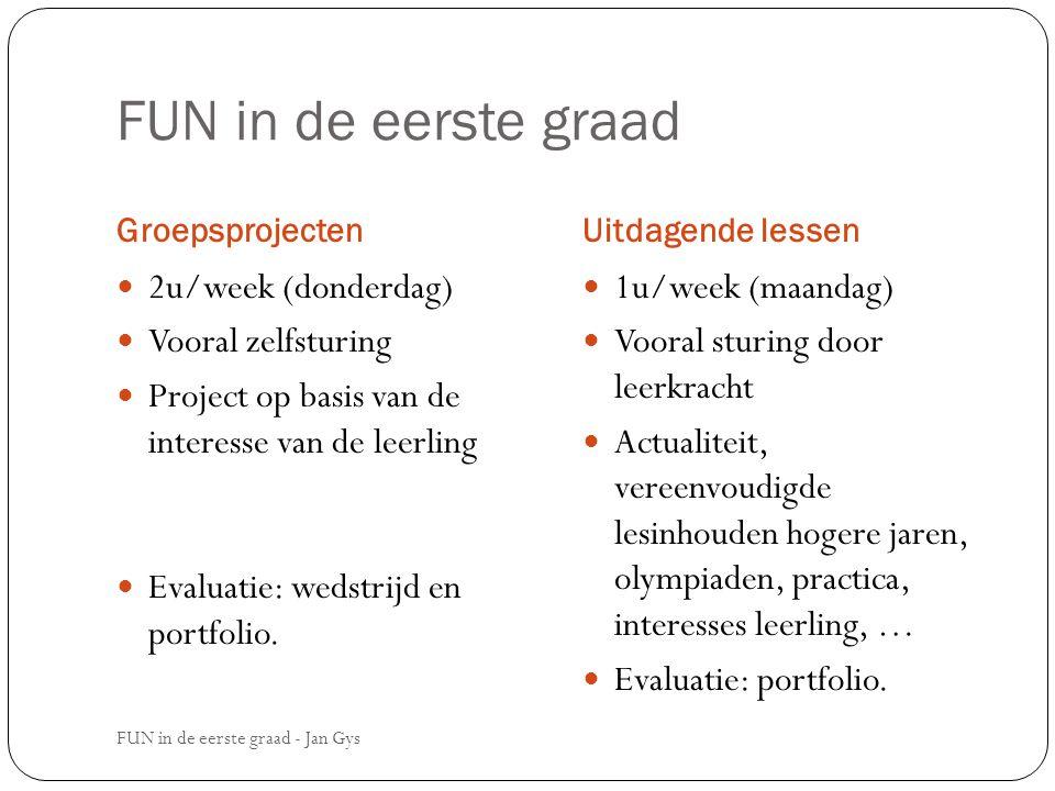 FUN in de eerste graad Groepsprojecten 2u/week (donderdag) Vooral zelfsturing Project op basis van de interesse van de leerling Evaluatie: wedstrijd e