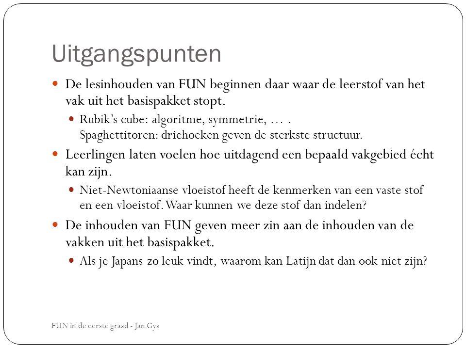 Uitgangspunten De lesinhouden van FUN beginnen daar waar de leerstof van het vak uit het basispakket stopt. Rubik's cube: algoritme, symmetrie, …. Spa