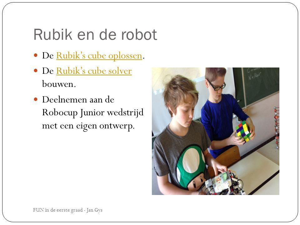Rubik en de robot De Rubik's cube oplossen.Rubik's cube oplossen De Rubik's cube solver bouwen.Rubik's cube solver Deelnemen aan de Robocup Junior wed