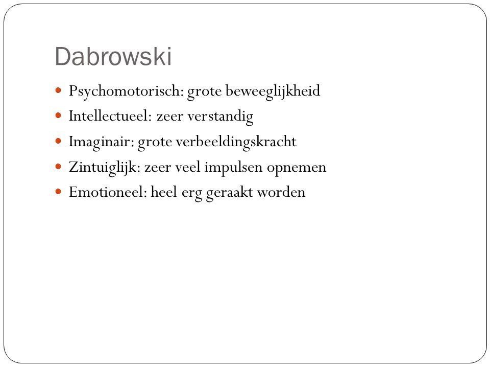 Dabrowski Psychomotorisch: grote beweeglijkheid Intellectueel: zeer verstandig Imaginair: grote verbeeldingskracht Zintuiglijk: zeer veel impulsen opn