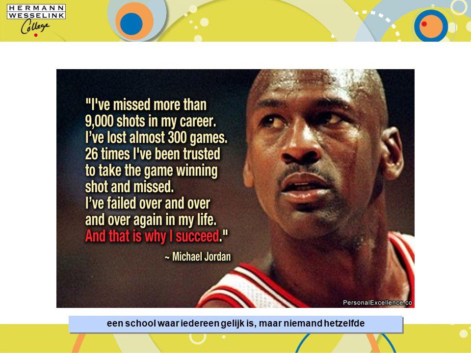SportMindset – De Basis van Talentontwikkeling 3 een school waar iedereen gelijk is, maar niemand hetzelfde
