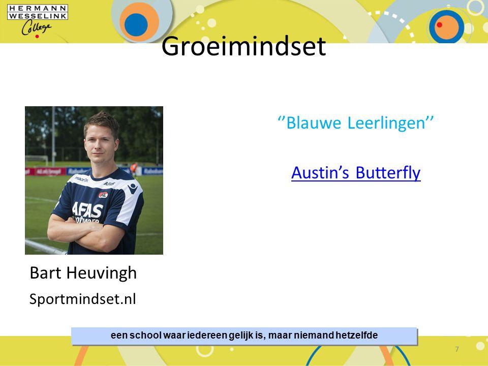 een school waar iedereen gelijk is, maar niemand hetzelfde Groeimindset Bart Heuvingh Sportmindset.nl ''Blauwe Leerlingen'' Austin's Butterfly 7