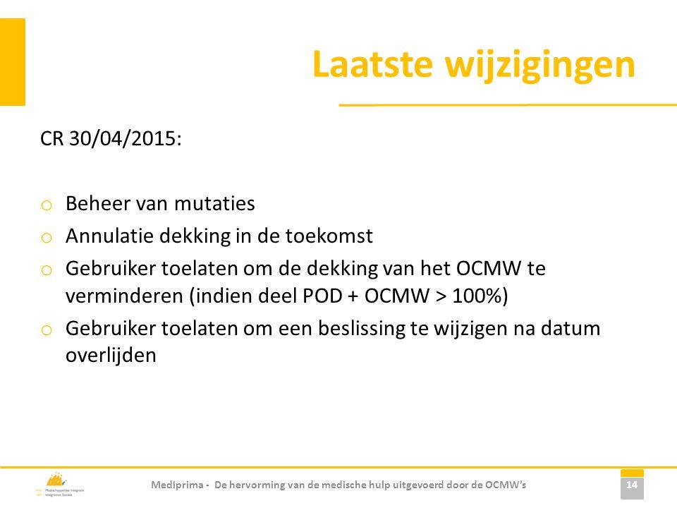 Laatste wijzigingen CR 30/04/2015: o Beheer van mutaties o Annulatie dekking in de toekomst o Gebruiker toelaten om de dekking van het OCMW te verminderen (indien deel POD + OCMW > 100%) o Gebruiker toelaten om een beslissing te wijzigen na datum overlijden Mediprima - De hervorming van de medische hulp uitgevoerd door de OCMW's 14