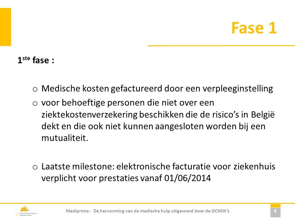 Fase 1 1 ste fase : o Medische kosten gefactureerd door een verpleeginstelling o voor behoeftige personen die niet over een ziektekostenverzekering beschikken die de risico's in België dekt en die ook niet kunnen aangesloten worden bij een mutualiteit.
