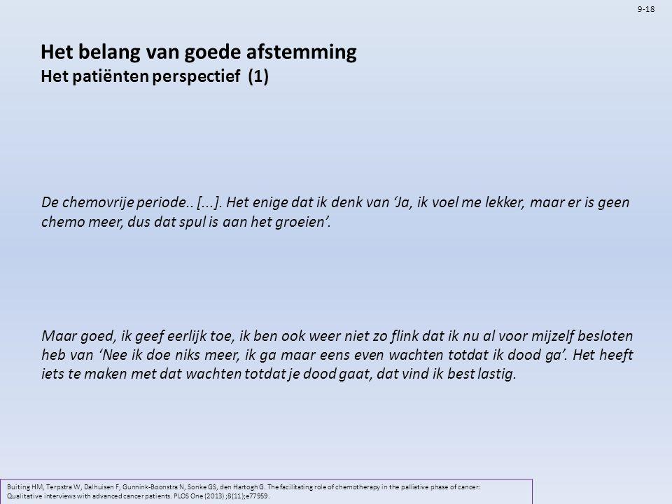 Het belang van goede afstemming Het patiënten perspectief (1) Buiting HM, Terpstra W, Dalhuisen F, Gunnink-Boonstra N, Sonke GS, den Hartogh G. The fa