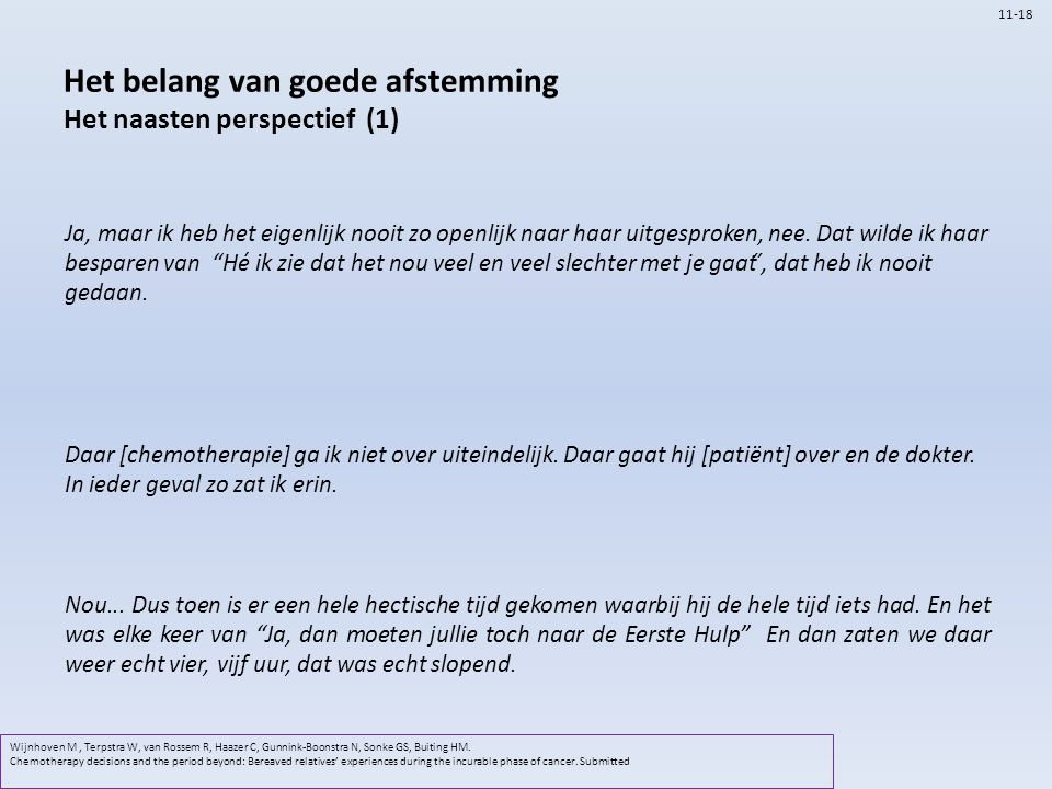 Het belang van goede afstemming Het naasten perspectief (1) Wijnhoven M, Terpstra W, van Rossem R, Haazer C, Gunnink-Boonstra N, Sonke GS, Buiting HM.