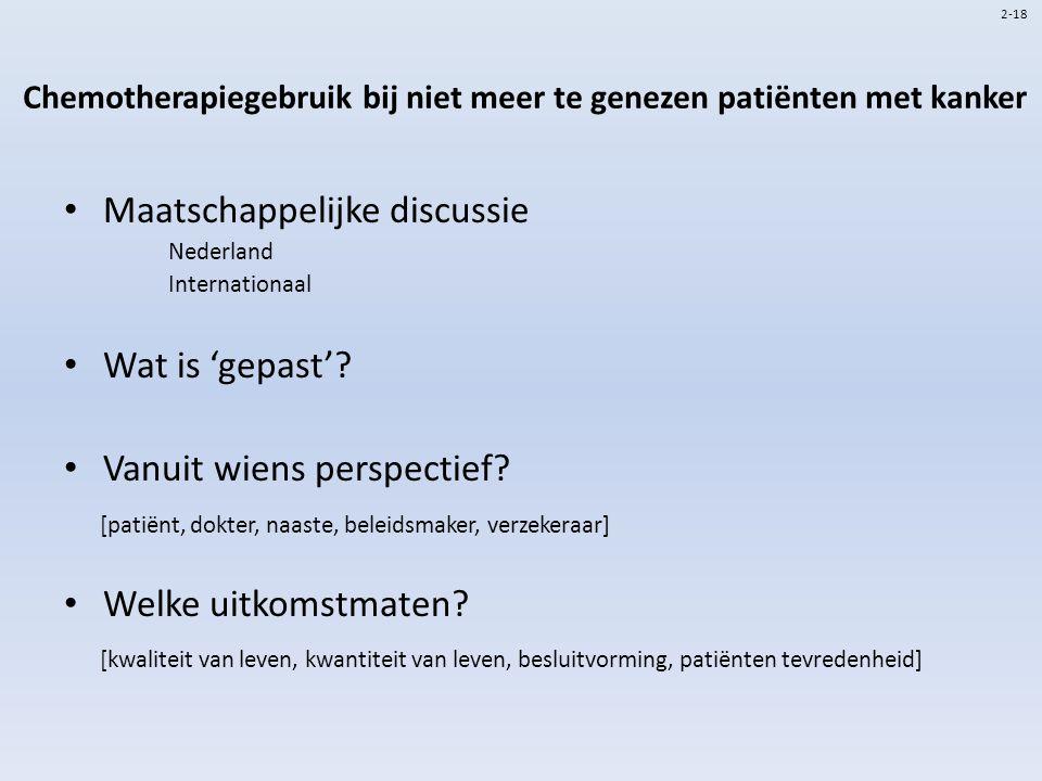 Chemotherapiegebruik bij niet meer te genezen patiënten met kanker Maatschappelijke discussie Nederland Internationaal Wat is 'gepast'? Vanuit wiens p