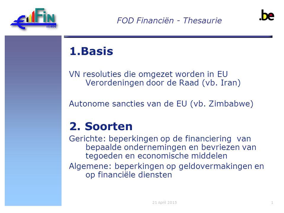 FOD Financiën - Thesaurie 1021 April 2015 VRAGEN?