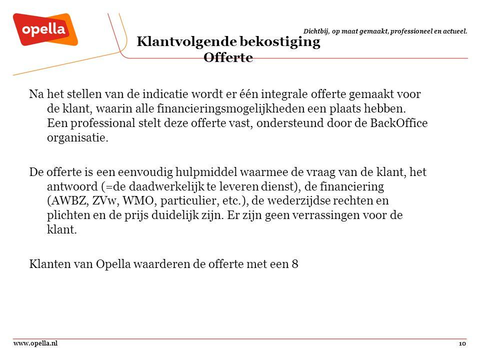www.opella.nl10 Dichtbij, op maat gemaakt, professioneel en actueel. Klantvolgende bekostiging Offerte Na het stellen van de indicatie wordt er één in