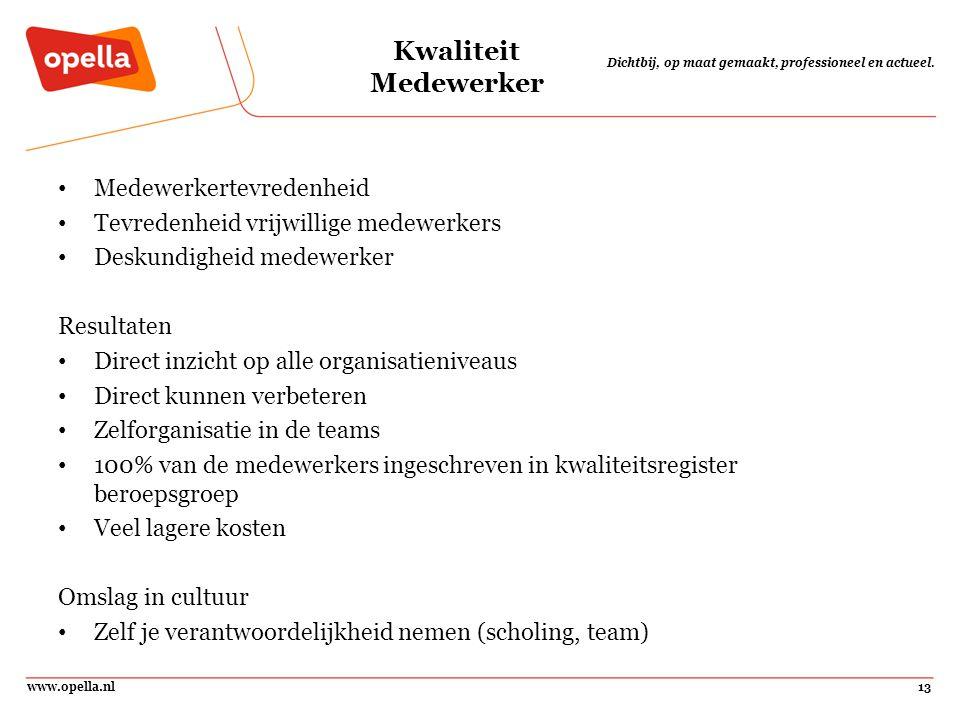 www.opella.nl13 Dichtbij, op maat gemaakt, professioneel en actueel. Kwaliteit Medewerker Medewerkertevredenheid Tevredenheid vrijwillige medewerkers