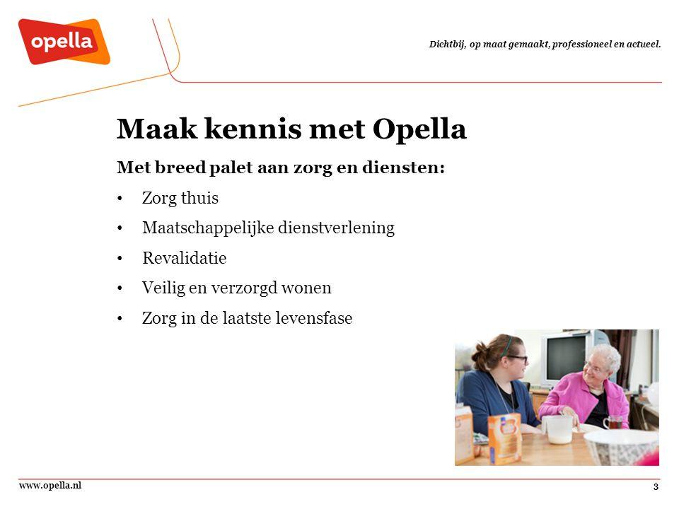 www.opella.nl3 Dichtbij, op maat gemaakt, professioneel en actueel. Maak kennis met Opella Met breed palet aan zorg en diensten: Zorg thuis Maatschapp