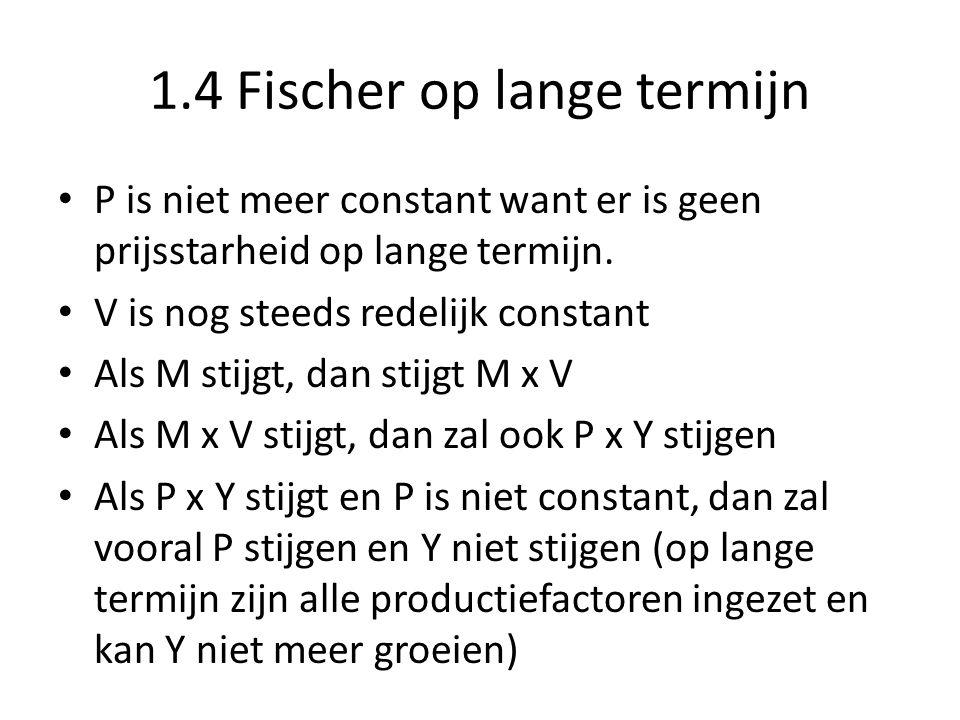 1.4 Fischer op lange termijn P is niet meer constant want er is geen prijsstarheid op lange termijn. V is nog steeds redelijk constant Als M stijgt, d