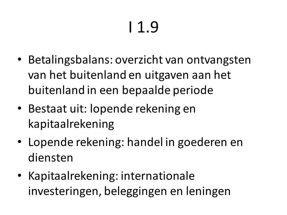 I 1.9 Betalingsbalans: overzicht van ontvangsten van het buitenland en uitgaven aan het buitenland in een bepaalde periode Bestaat uit: lopende rekeni