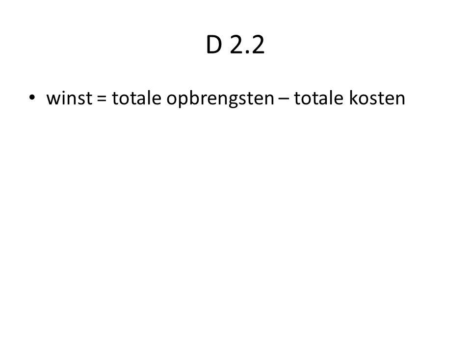 D 2.2 winst = totale opbrengsten – totale kosten