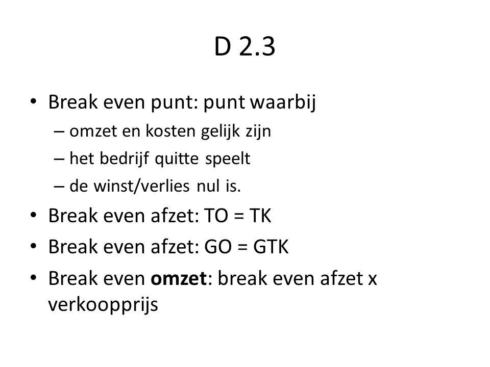 D 2.3 Break even punt: punt waarbij – omzet en kosten gelijk zijn – het bedrijf quitte speelt – de winst/verlies nul is. Break even afzet: TO = TK Bre