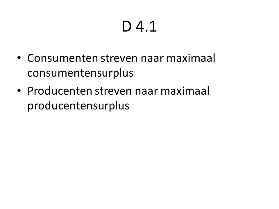 D 4.1 Consumenten streven naar maximaal consumentensurplus Producenten streven naar maximaal producentensurplus