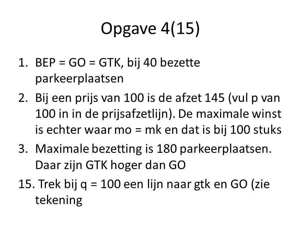Opgave 4(15) 1.BEP = GO = GTK, bij 40 bezette parkeerplaatsen 2.Bij een prijs van 100 is de afzet 145 (vul p van 100 in in de prijsafzetlijn).