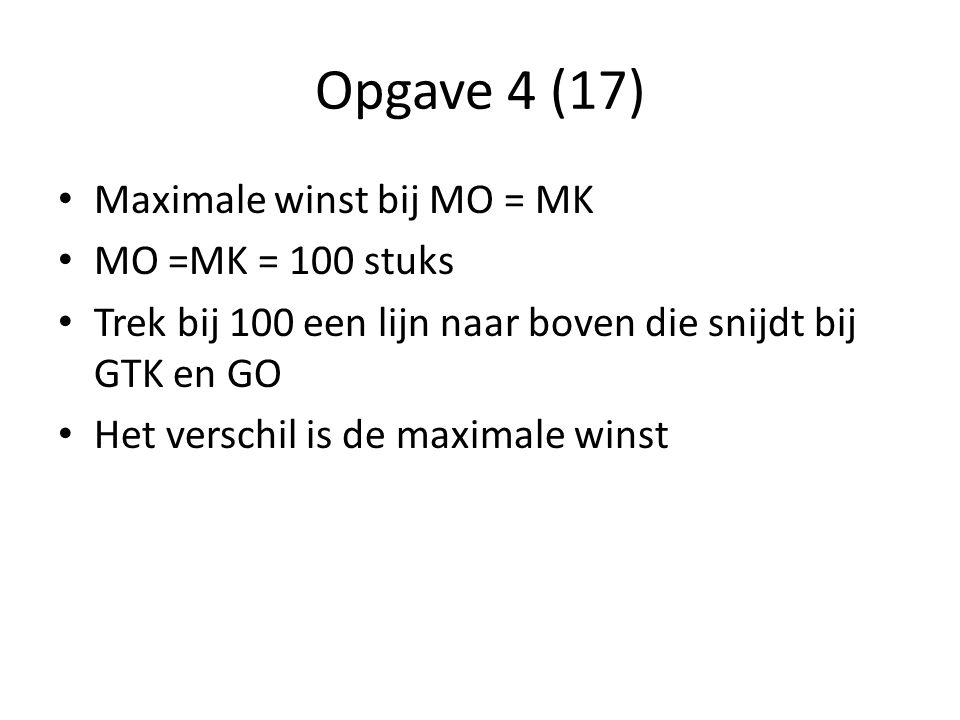 Opgave 4 (17) Maximale winst bij MO = MK MO =MK = 100 stuks Trek bij 100 een lijn naar boven die snijdt bij GTK en GO Het verschil is de maximale wins