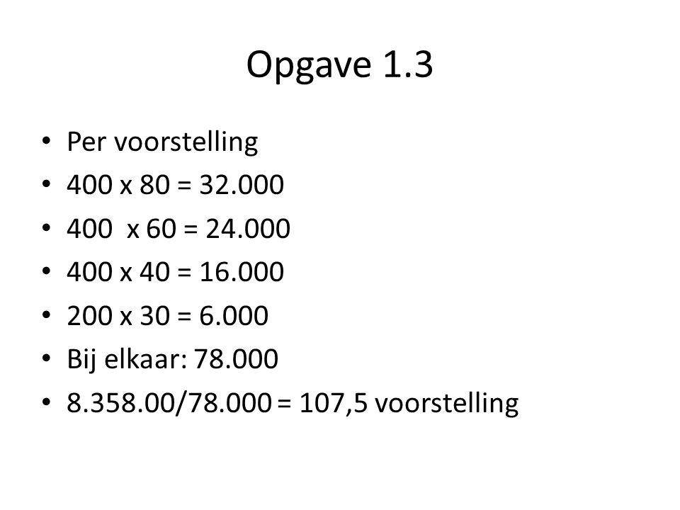 Opgave 1.3 Per voorstelling 400 x 80 = 32.000 400 x 60 = 24.000 400 x 40 = 16.000 200 x 30 = 6.000 Bij elkaar: 78.000 8.358.00/78.000 = 107,5 voorstel
