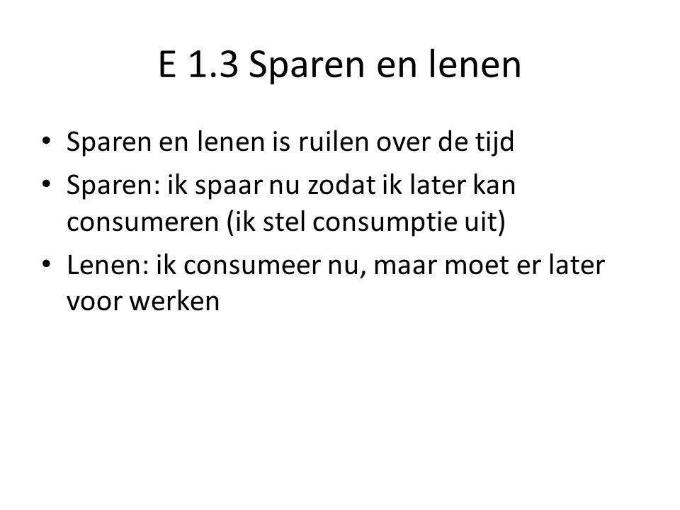 E 1.3 Sparen en lenen Sparen en lenen is ruilen over de tijd Sparen: ik spaar nu zodat ik later kan consumeren (ik stel consumptie uit) Lenen: ik consumeer nu, maar moet er later voor werken