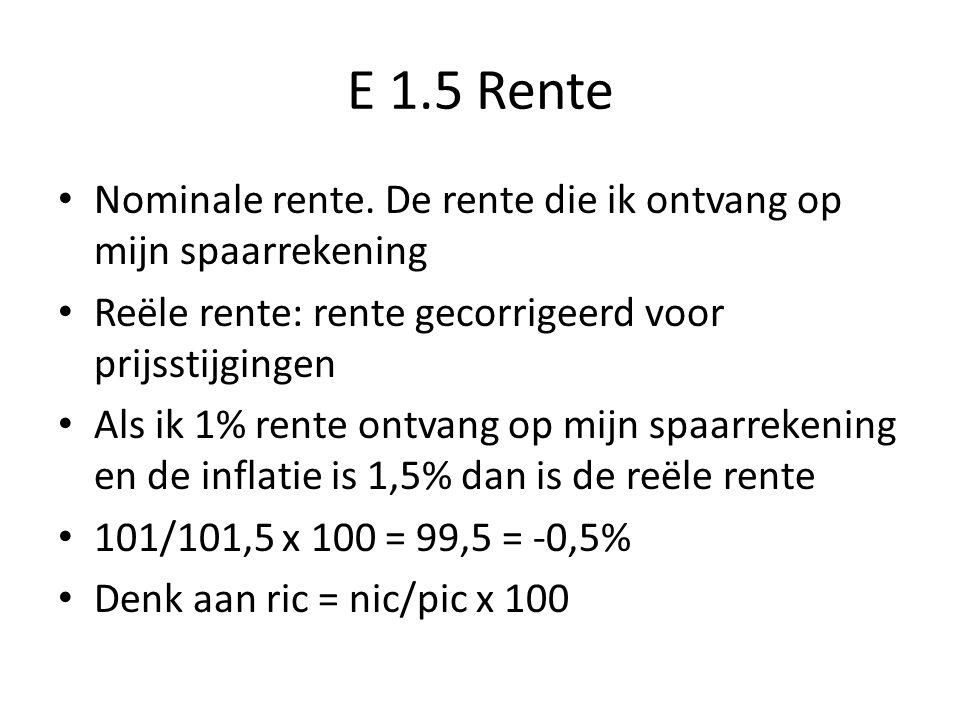 E 1.5 Rente Nominale rente. De rente die ik ontvang op mijn spaarrekening Reële rente: rente gecorrigeerd voor prijsstijgingen Als ik 1% rente ontvang