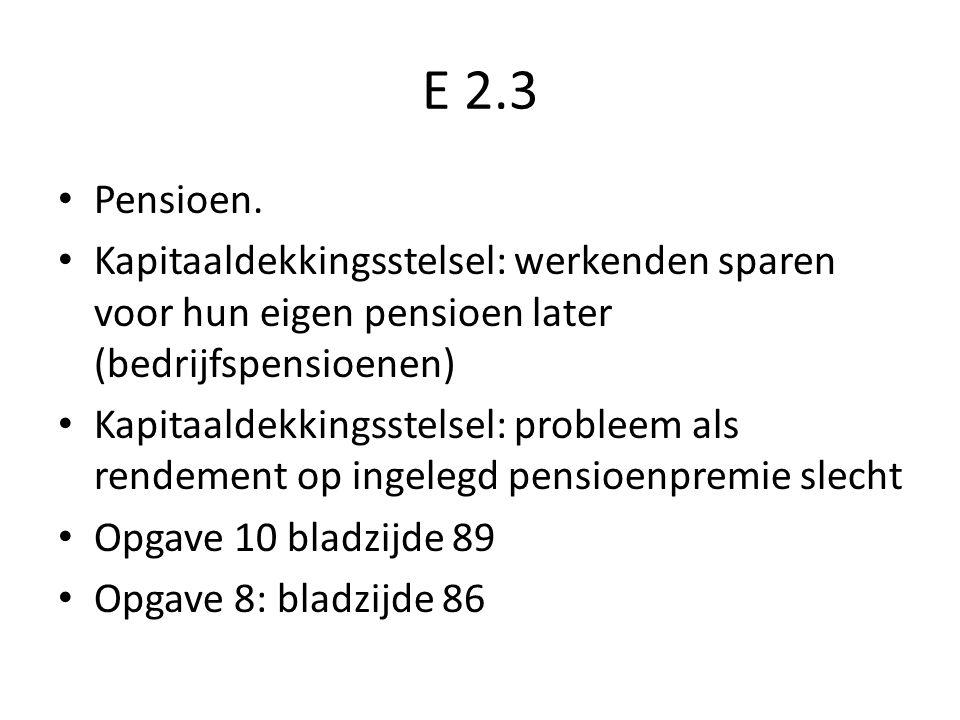 E 2.3 Pensioen. Kapitaaldekkingsstelsel: werkenden sparen voor hun eigen pensioen later (bedrijfspensioenen) Kapitaaldekkingsstelsel: probleem als ren