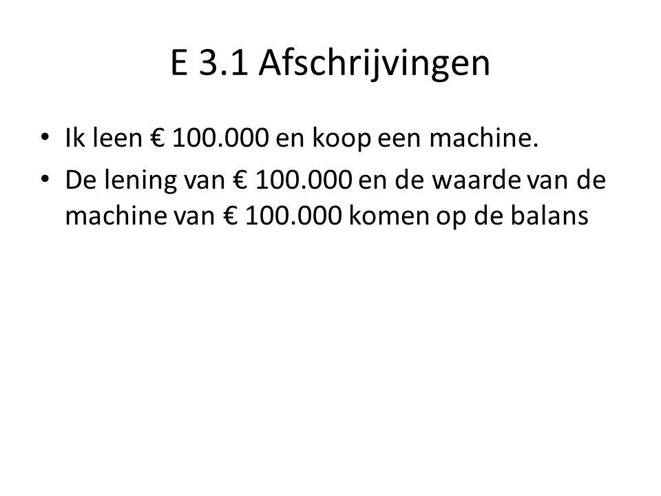 E 3.1 Afschrijvingen Ik leen € 100.000 en koop een machine. De lening van € 100.000 en de waarde van de machine van € 100.000 komen op de balans